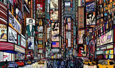 Affisch Illustration av en gata i New York City - Times Square - Vektor illustration