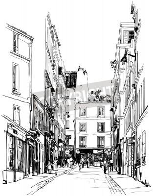 Affisch illustration av en gata nära Montmartre i Paris