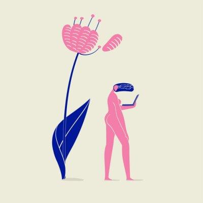 Affisch illustration av en tjej naken med anteckningsbok under blomma, person, natur, ekologi och teknik, rosa och blå färger schema