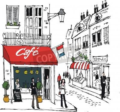 Affisch illustration av fransk by cafe gatubilden