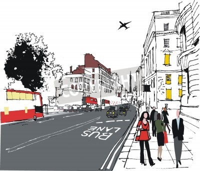 Affisch illustration av pendlare på London stadsgatan