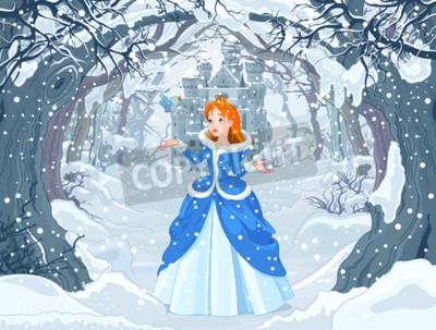 Affisch Illustration av prinsessa med fågel nära Magic Winter Castle