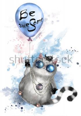 Affisch Illustration av söt katt i rocker stil, med runda glasögon och smycken. Katt som flyger på en ballong med bokstäver - vara fantastisk. akvarell Splashfärg. T-shirt, coolt utskrift.