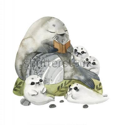 Affisch Illustration av söta päls sälar i akvarell stil. Farfar läser berättelser till sina barnbarn. Berättelser i bilder.