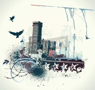 Affisch illustration av urban bakgrund med grunge färgade Designelement