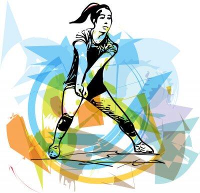 Affisch Illustration av volleybollspelare spelar