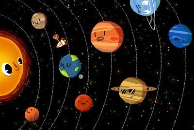 Affisch Illustration för barn: De lyckliga planeterna i solsystemet. Realistiska Fantastic tecknad stil konstverk / Story / Scen / Bakgrund / Bakgrund / kortdesign.