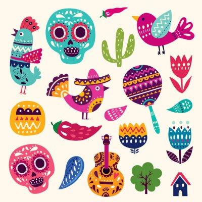 Affisch Illustration med symboler i Mexiko