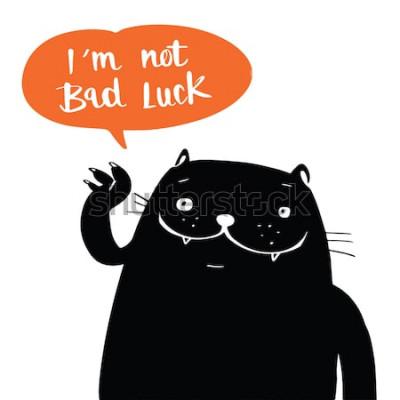 Affisch Illustration vektor doodle stil en svart katt och jag har inte otur i ballong tal, tecknad design.