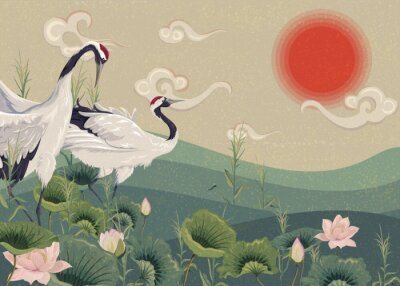 Affisch Illustration with Japanese cranes in the lake at sunset