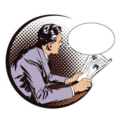 Affisch Illustrations. Människor i retrostil popkonst och vintage reklam. Män med tidningen. Pratbubbla.