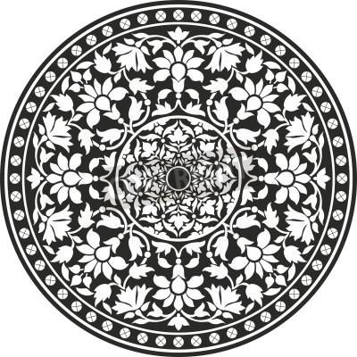Affisch Indiska traditionella mönster av svart och vitt - blomma mandala
