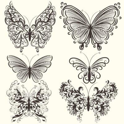 Affisch Insamling av abstrakta vektor virvla runt fjärilar för design