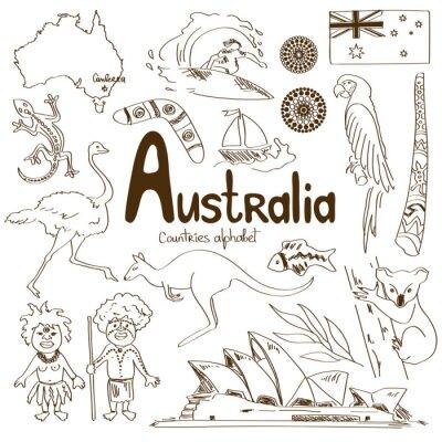 Affisch Insamling av Australien ikoner