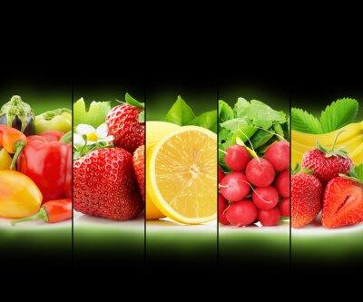 Affisch insamling av frukt och grönsaker rand på svart bakgrund
