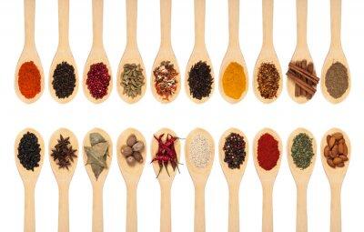 Affisch insamling av kryddor på skedar