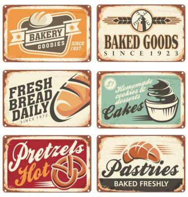 Affisch Insamling av vintage vektor bageri tecken
