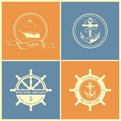 Affisch Inställda Retro Nautical Emblem och etiketter