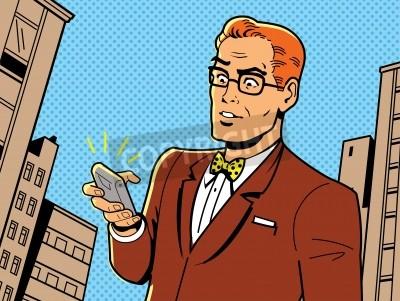 Affisch Ironic Illustration av en retro 1940 eller 1950 man med glasögon, fluga och modern smartphone