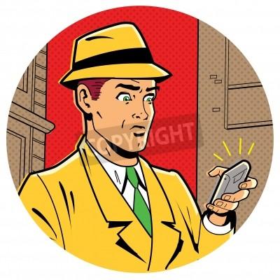 Affisch Ironiskt Satirical Illustration av en retroklassiker Comics man med en Fedora och en modern smartphone