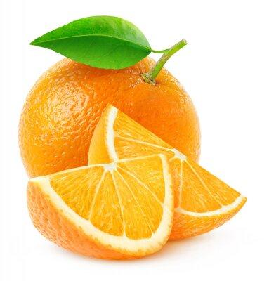 Affisch Isolerade orange frukt och skivor