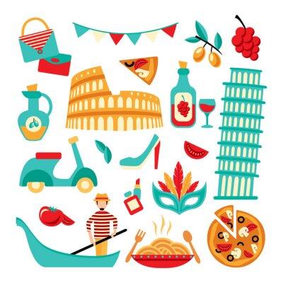 Affisch Italien dekorativa uppsättning