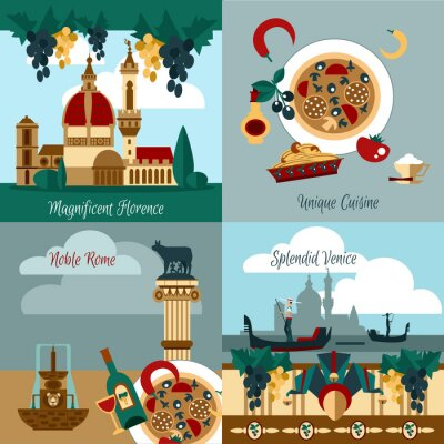 Affisch Italien Touristic Set