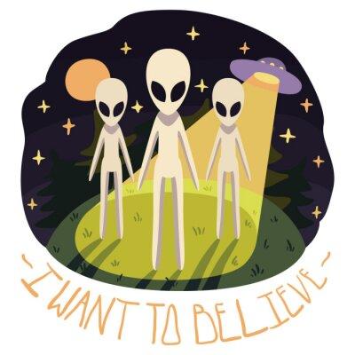 Affisch Jag vill tro vektor affisch (bakgrund) med utlänningar på kullen och UFO på natten med fullmånen och stjärnorna (tecknad stil)