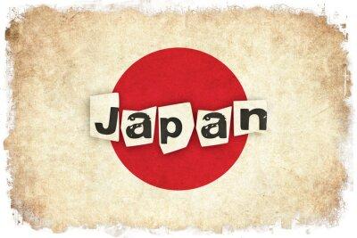 Affisch Japan grunge flagga illustration av asiatiska land med text