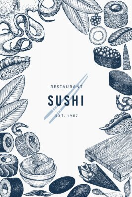 Affisch Japanese cuisine banner template. Sushi hand drawn vector illustrations. Retro style asian food background.