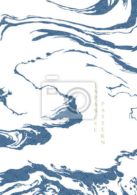 Affisch Japanese wave pattern with abstract shape vector. Blue ocean background with grunge texture. Wave hand drawn elements.