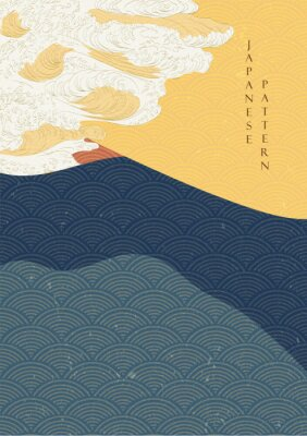Affisch Japanese wave template with Geometric pattern vector.