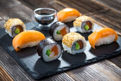 Affisch Japansk fisk och skaldjur sushi