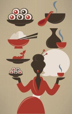 Affisch Japansk meny, vektor samling mat i platt stil