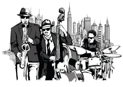 Affisch Jazz band i New-York