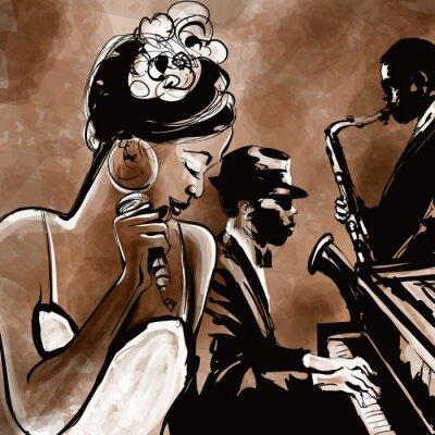 Affisch Jazz band med sångare, saxofon och piano - illustration