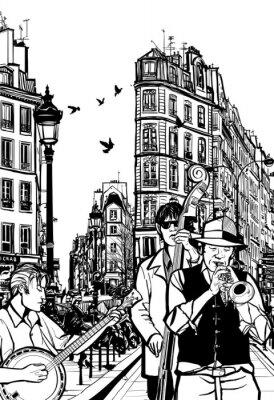 Affisch Jazz band på en gata i Paris