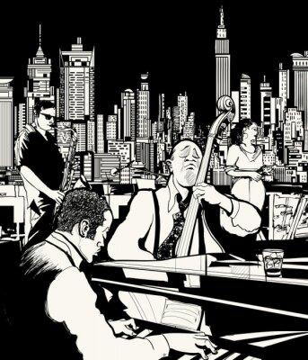 Affisch Jazz band som spelar i New York