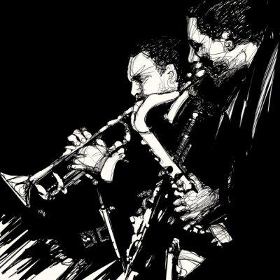 Affisch jazz mässing musiker