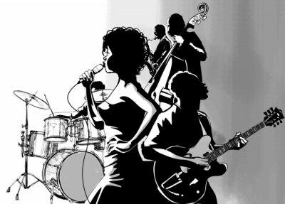 Affisch Jazz med gitarr saxofon och dubbel basist