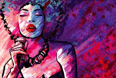 Affisch Jazz med mikrofon på grunge bakgrund