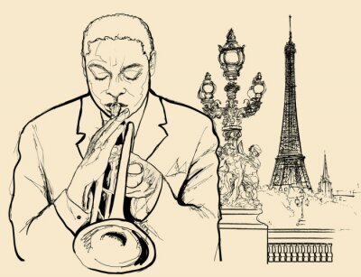 Affisch jazz trumpetaren på Alexander bron i Paris (bläckpenna ritning)