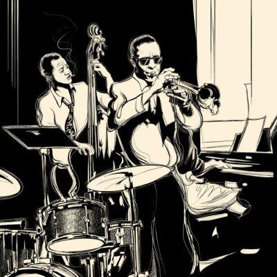 Affisch Jazzband med dubbel-bastrumpet piano och trumma