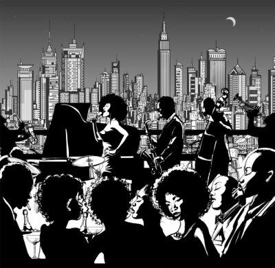 Affisch Jazzmusik band utför i New York