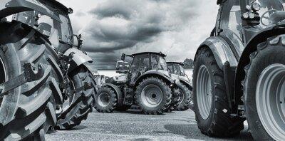 Affisch jordbrukstraktor line-ups, plogar och maskiner