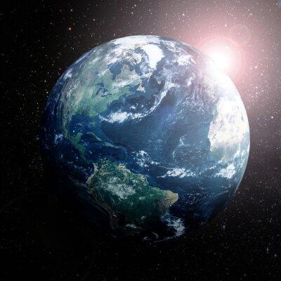 Affisch Jorden i rymden visar Europa, Asien och Afrika