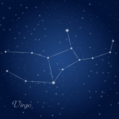 Affisch Jungfru konstellation stjärntecken på stjärnklara natthimlen