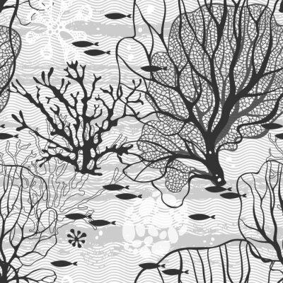 Affisch Kablar världen. Seamless mönster med havsväxter och fisk
