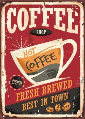 Affisch Kafé retro tenn undertecknar design med kaffekopp på röd bakgrund
