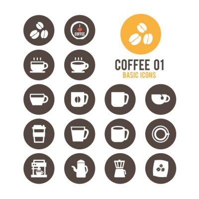 Affisch Kaffe ikonuppsättning. Vektor illustration.